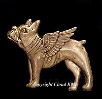 Boston Terrier / French Bulldog Guardian Angel Dog Pin