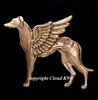 Standing Greyhound Guardian Angel Dog Pin  Whippet Angel Dog