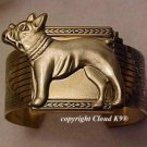 French Bulldog CUFF BRACELET  Boston Terrier *Signed* Jewelry