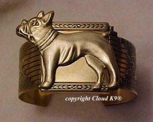 French Bulldog CUFF BRACELET  Boston Terrier *Signed* Jewelry