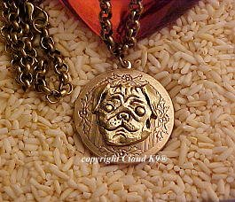 Smiling Pug Dog Photo Locket Necklace  ...Jewelry for Dog Lovers