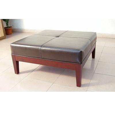 The Winston Ottoman / Table - Dark Brown Leather