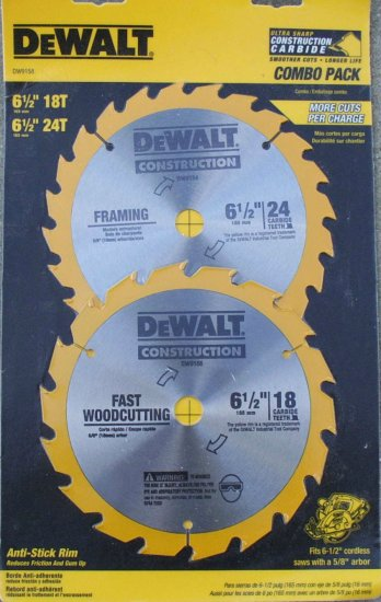 DW9158 Dewalt  18 Tooth  24 Tooth Blade Combo Pack