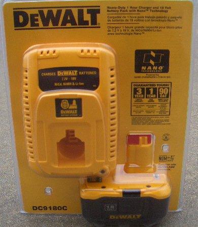 DC9180C Dewalt 1-Hour Charger &18V Lithium Battery Pack (RP)