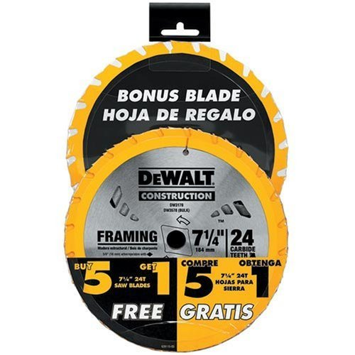 """DW3578SB1 Dewalt  6 Pack of 7¼"""" Circular Saw Blades"""