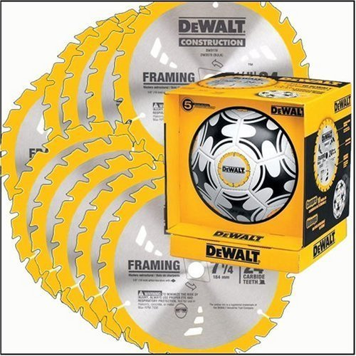 """DW3578S8 Dewalt 10-Pack of 7¼"""" 24 Tooth Framing Blades w/ FREE DEWALT Soccer Ball"""