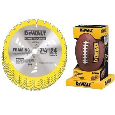 DEWALT DW3578F8 Heavy Duty 10-Pack of 7-1/4-Inch 24 Tooth Framing Blades with FREE DEWALT Football