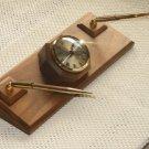 Solid Walnut Executive Desk Clock, w/Penset #63-16