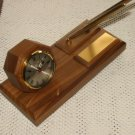 Solid Walnut Executive Desk Clock w/Penset #26