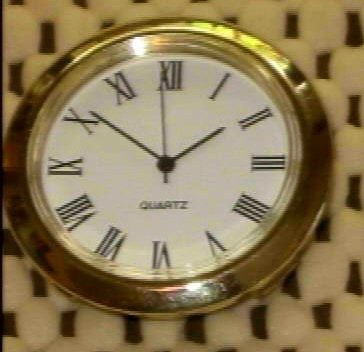 "1-7/16"" (36mm) Insert Clock With Roman White Face Dial"