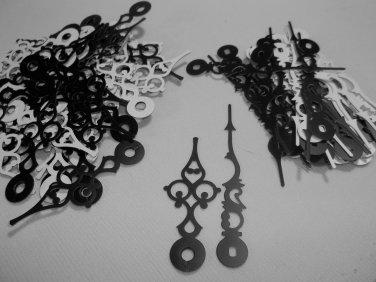 25 Pairs New Serpentine Black/White Clock Hands (No7) For Scrapbooking, Steampunk, Embellishment