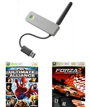 Xbox 360 Holiday Gifts Package - Xbox 360 Wireless Networking Adapter and 2 Great Games