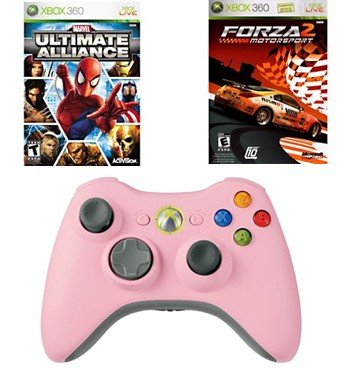 Girls Holiday Bundle - 2 Great Games and a Pink Wireless Controller for Xbox 360