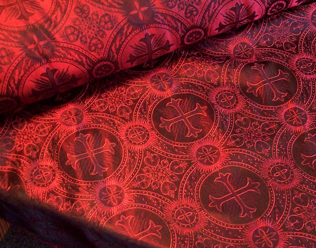 Red Black Celtic Cross Vestment Brocade