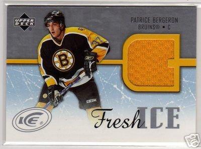 Patrice Bergeron 2005/2006 Upperdeck Deck ICE Fresh Ice NHL Hockey Jersey Card #FI-PB