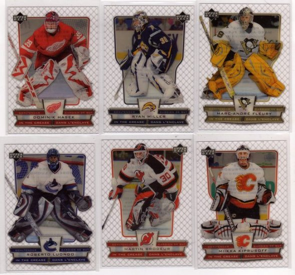 2007/2008 McDonalds Hockey Cards In The Crease Goalie Insert Complete Set