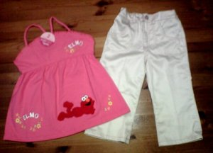 Elmo Pink Dress + White Pant for 2 years old (RM55) / (S$28)