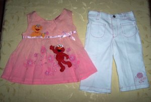 Elmo Peach Dress + White Pant for 3 years old (RM55) / (S$28)