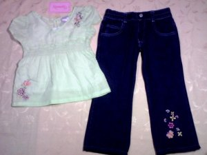 Light Green Dress + Blue Denim Jean for 3 years old (RM55) / (S$28)