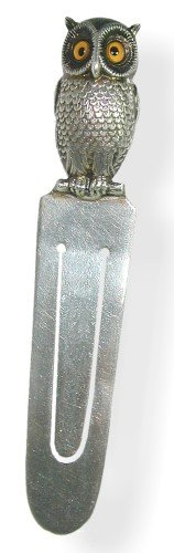 Owl head Bookmark - slips on your pages mark your place - silver plated + amber