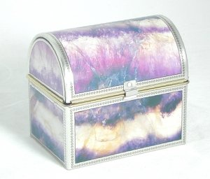 Decorative Tin Box with hinged lid