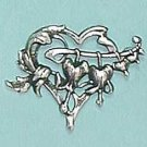 Art Nouveau style Hearts and flowers silver plated Brooch - ideal gift