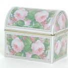 Decorative Roses coloured Tin box with barrel lid - Trinkets/Chocolates