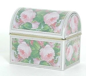 Decorative Roses coloured Tin box with barrel lid - Trinkets/Chocolates