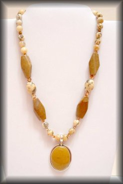 Earth Tone - Silver organic necklace