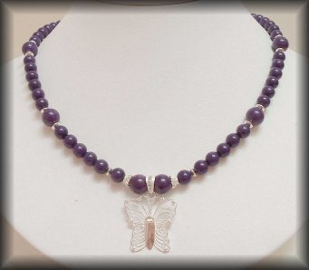 Twilight Butterfly - Silver gemstone necklace