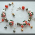 Winter Festival - Silver lampwork and pearl bracelet