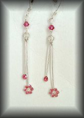 Silver Pink flower Swarovski earrings