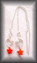 Silver Red stone star earrings