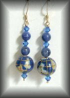 Blue Globe earrings with gold vermeil