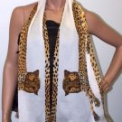 POMPEII CHEETAH TEXTURED SILK GEORGETTE SCARF-PEARL WHITE