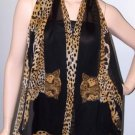 POMPEII CHEETAH TEXTURED SILK GEORGETTE SCARF-MIDNIGHT BLACK