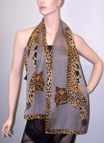 POMPEII CHEETAH TEXTURED SILK GEORGETTE SCARF-MISTY GRAY