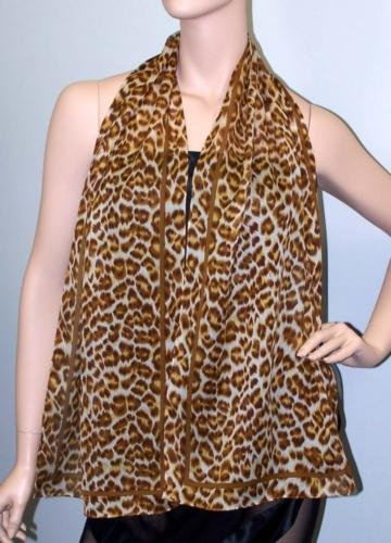 TEXTURED SILK GEORGETTE SCARF-LEAPIN' LEOPARD