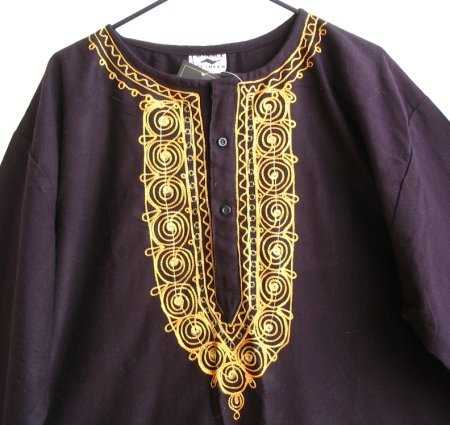 Black & Gold Embroidered Moroccan Tunic Top O/S NEW