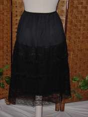 Lovely vintage black lacy rayon half slip Small 18 inches lace n rayon overlay