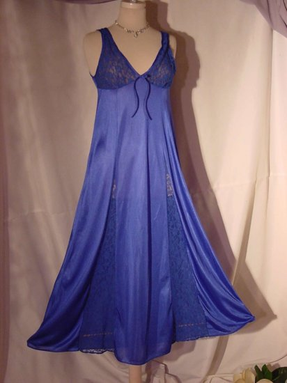 SOLD SOLD SOLD SOLD Improved Living Nightgown Royal Blue Lace Insets in front