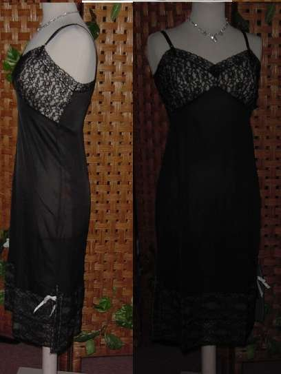 """M'lle Smart Black Lacy Full slip 12"""" lace hem lace cups 32 B Side slit and Bow No. 13"""