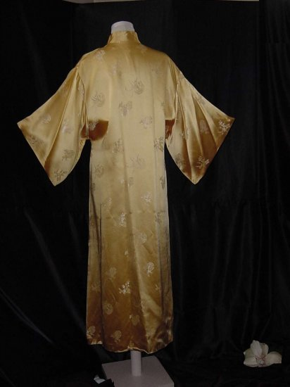 Kimono sleeves Soft Yellow Rayon Oriental Style Robe Loungewear  No. 12