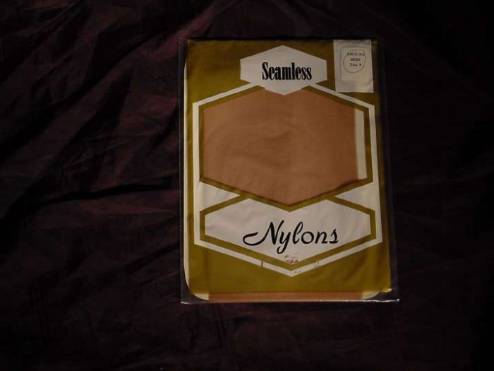 Stockings Seamless Nylons Beige size 9     No. 95