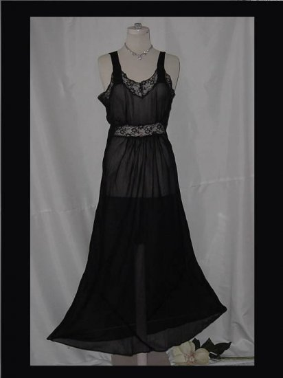 Vintage Shirley Ray Night gown Black Sheer 1930 1940 NightGown  #9