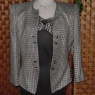 Kasper black white houndstooth suit 8P Stylish Office Business Suit No. 14