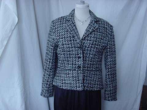 Worthington Tweed Jacket Size 8P Black Gray Teal Light blue White Tweed Jacket  No. 14