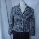 Worthington Tweed Jacket Size 8P Black Gray Teal Light blue White Tweed Jacket  No. 14