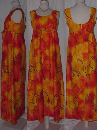 Maluna Hawaii Vintage Hawaiian dress Colorful Maxi dress 1970s 1980s  No. 14