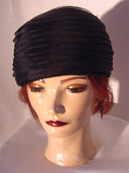 Vintage Stix Baer Fuller Ladies hat Black pillbox Womans Hat with concentric tulle Folds  No.  80